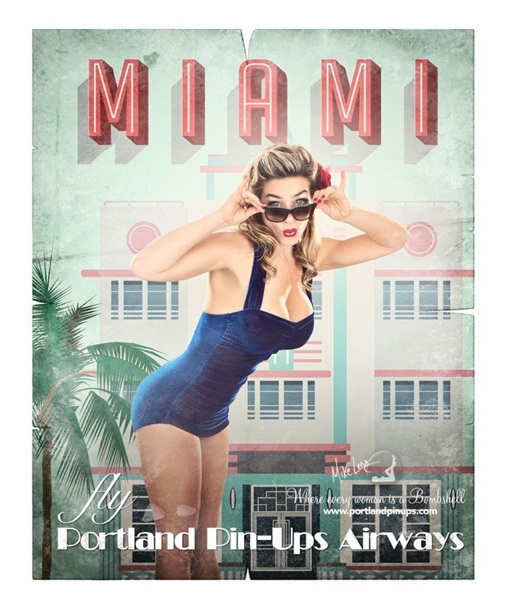 MIAMI...Remembering the good old days, when we could travel!!At Portland Pin-Ups, we believe that EVERY woman is a bombshell, and we love our clients! We appreciate that visiting a professional photographer is rare these days and thank you for choosing us to capture your beauty.Professional hair styling, make-up artistry, lighting, 20 years of posing experience and industry leading retouching...the Portland Pin-Ups Magic. It