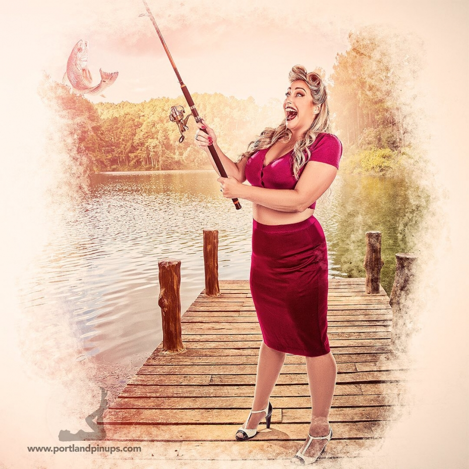 CAUGHT!Because every girl should wear high heels when fishing!At Portland Pin-Ups, we believe that EVERY woman is a bombshell, and we love our clients!  We appreciate that visiting a professional photographer is rare these days and thank you for choosing us to capture your beauty.Professional hair styling, make-up artistry, lighting, 20 years of posing experience and industry leading retouching...the Portland Pin-Ups Magic. It's why you don't go to the guy who got a camera for Christmas….For curious photographers:Nikon D810 with 50mm 1.4G. Lights by ProPhoto.  Very mild massaging using Photoshop and  25 years of experience.#pinup #portlandphotographer #pinupclothing #pinupart #classicpinup #pinupmakeover  #pinupgirl  #beauty #picoftheday #nikon #nikonprofessional  #photooftheday  #fishing #skirt #heels