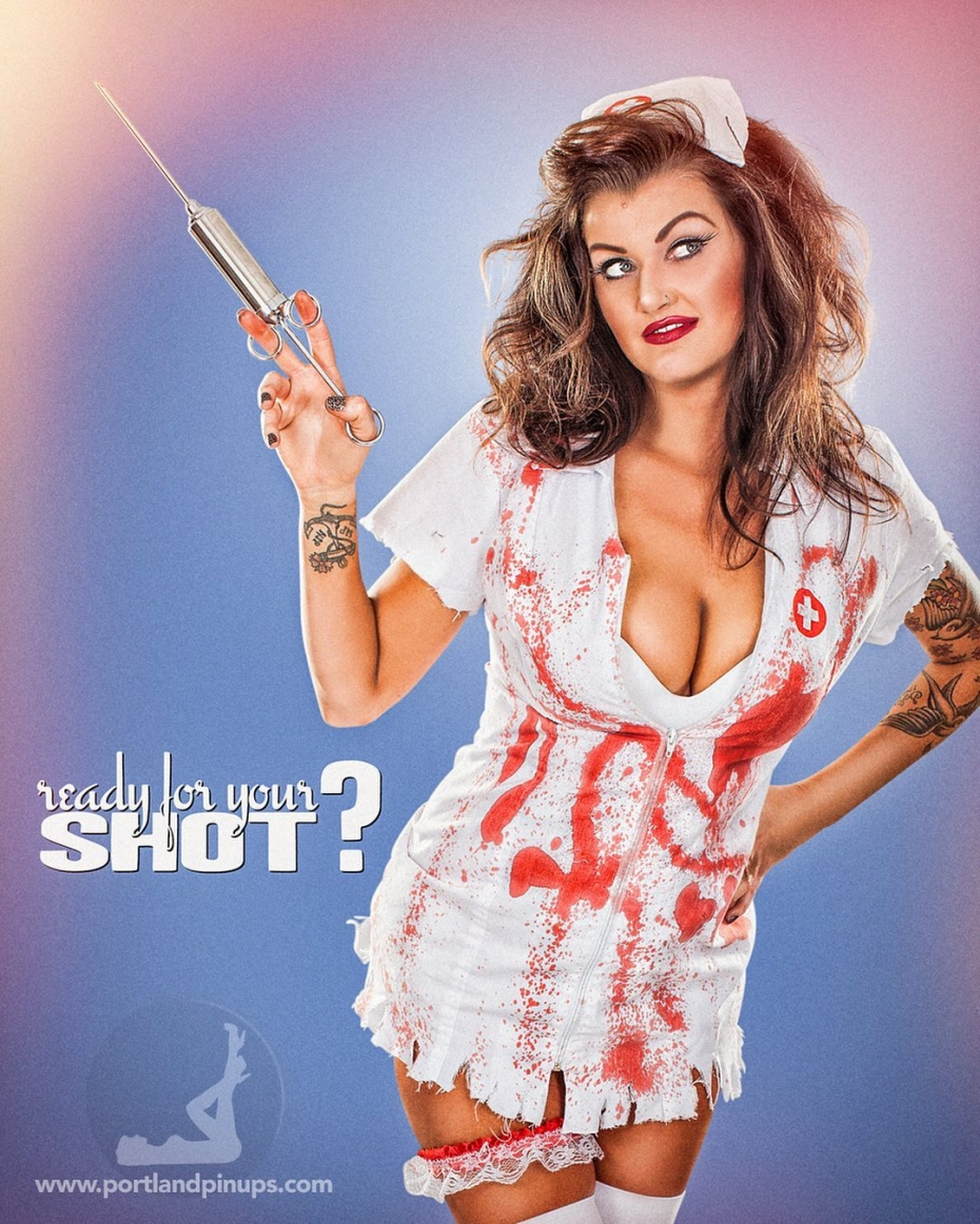 READY FOR YOUR SHOT?As 2020 draws to a close, the world is gearing up to give everyone a shot…what if this nurse was delivering it to you….more or less inclined to take it!! At Portland Pin-Ups, we believe that EVERY woman is a bombshell, and we love our clients!  We appreciate that visiting a professional photographer is rare these days and thank you for choosing us to capture your beauty.Professional hair styling, make-up artistry, lighting, 20 years of posing experience and industry leading retouching...the Portland Pin-Ups Magic. It's why you don't go to the guy who got a camera for Christmas….For curious photographers:Cameras by Nikon. Lights by Photogenic / Paul C Buff. Posing and artwork by 25 years of experience....