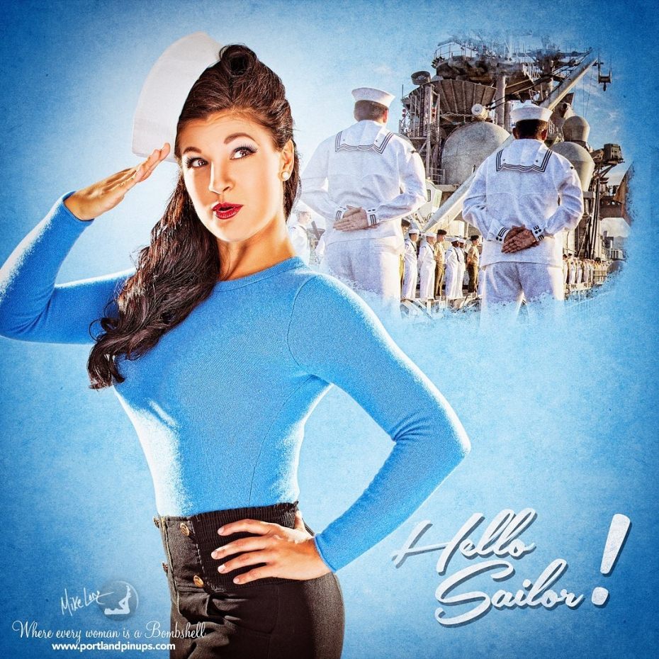 HELLO SAILOR!Sailor girl is one of the most popular outfit types, and it's so versatile! In this case, Katie has high waisted shorts - black works, so does red, white or blue! - and a lovely tight blue sweater. But you can also pair a tight skirt with a blouse, tank top or sweater.  Throw on the REAL sailor hat that was gifted to us by a REAL Navy vet a few years ago and boom! Sailor girl!Portland Pin-Ups - #upgradeyourselfie