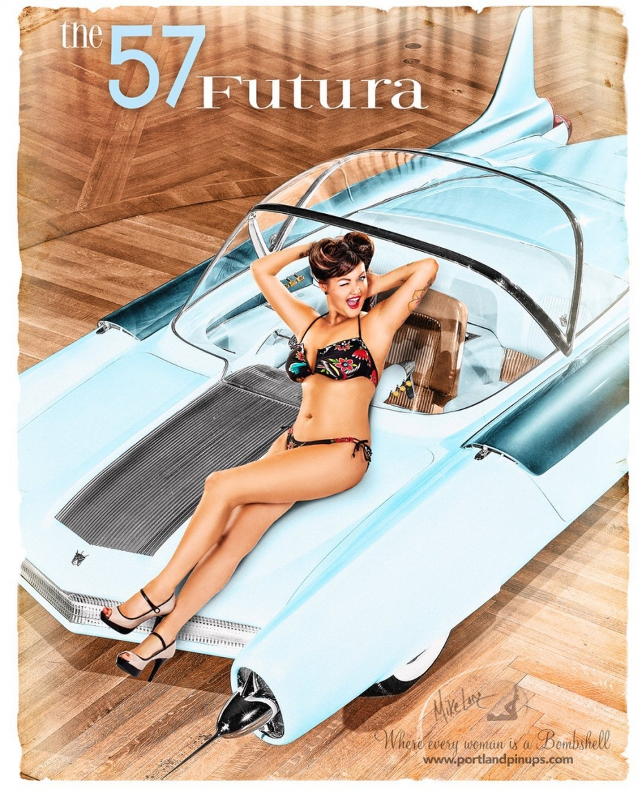 """The '57 Futura!A very fun #flashbackfriday featuring Portland Pin-Ups Bomsheii, stylist and all round superstar, Nicky!Little note to all those ladies who follow Portland PIn-Ups and say, """"one day, I'll do this!"""" - please don't delay too long! 2021 is flying by, and after our very short 2020 due to the forced closure, we are VERY busy this year! The calendar is filling fast and we only have a few spots open through the summer. Artworks take time after your session to create, so if you are wanting an amazing pin-up experience and gorgeous artworks…get in touch now!#portland #pinups #futura #futuristic #model #pinupgirl #photography"""