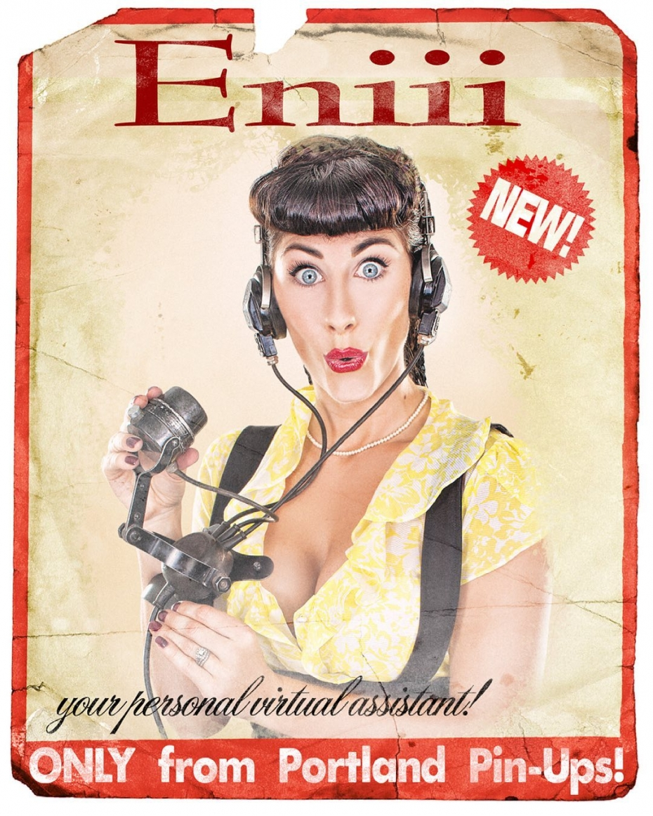 Before Siri, there was Eniii!!! Your personal virtual assistant…ONLY from Portland Pin-Ups!#retroad #vintage #portland #photographer #pinupgirl #siri