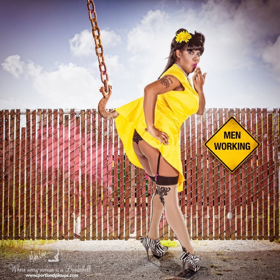 MEN WORKING…Naughty boys…  Our lovely client, Brittaini feeling a little exposed by the work site!#portland #Pinup #pinupgirl #oops #stockings #dress #flirty #fun #portraitphotographer #lifeexperience